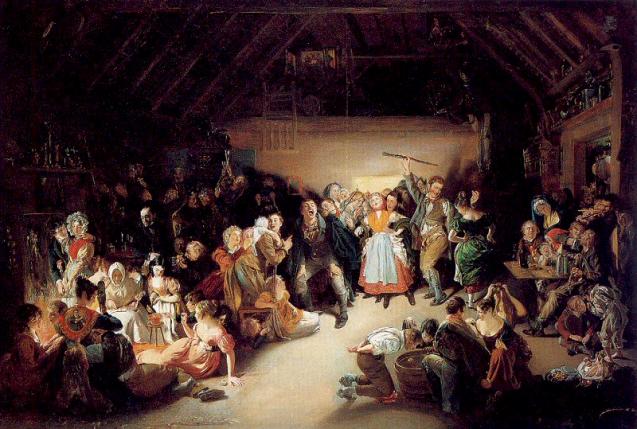 """Snap Apple Night, 1833 par Daniel Maclise. Des enfants jouent au """"Snap Apple"""" lors d'une soirée d'Halloween en Irlande en 1832."""