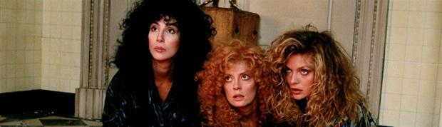 Alex, Jane et Sukie jouées par Cher, Susan Sarandon et Michelle Pfeiffer, The Witches of Eastwick, 1987