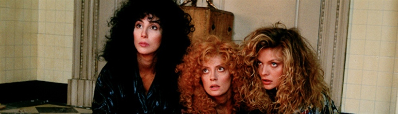 Alex, Jane et Sukie jouées par Cher, Susan Sarandon et Michelle Pfeiffer, The Witches of Eastwick, 1987